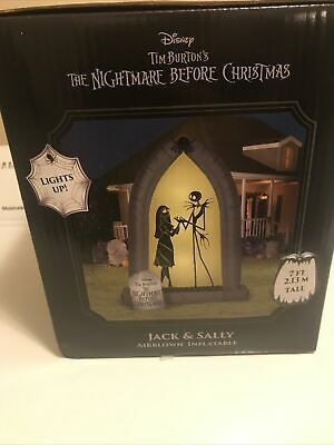 Airblown Arch with Jack and Sally Silhouettes 7ft tall New Halloween Inflatable