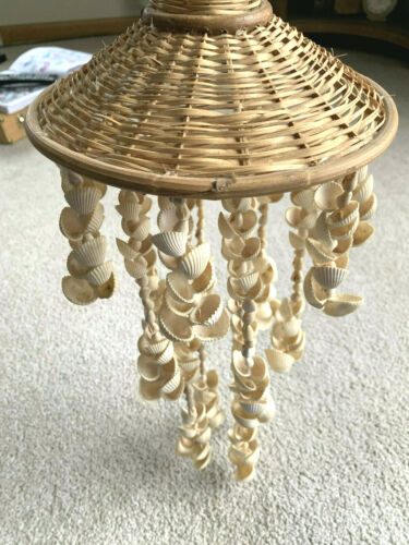 """SEA SHELL & Wicker WIND CHIME Umbrella HANGING 21"""" long TONS OF 1"""" shells"""
