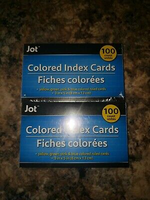 Lot Of 2 Jot Index Cards - Assorted Colors - Ruled 3 X 5 100 Ct. Free Shipping