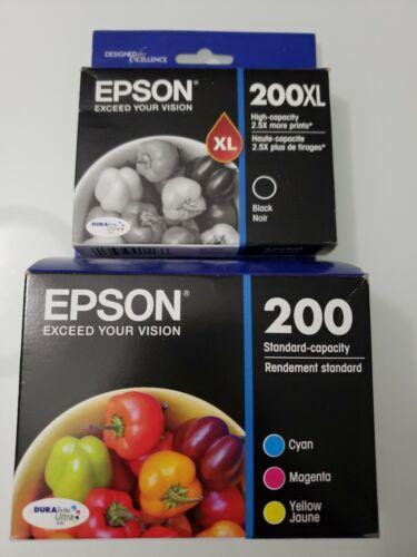 Genuine Epson 200XL Black 200 Cyan Magenta Yellow Ink Cartridges Dated 2022 B - $31.95