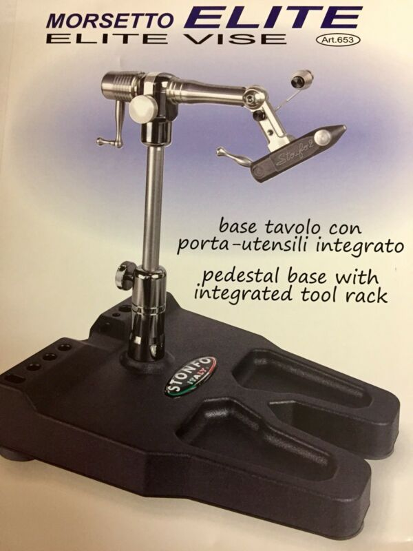 STONFO ELITE FLY TYING VISE. NEW IN PACKAGE. MADE IN THE ITALY. INTEGRATED BASE.