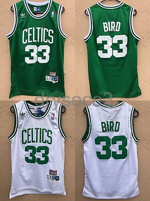 Nwt Larry Bird  33 Boston Celtics Jersey Stiched  White Green Rev30 Mesh S L