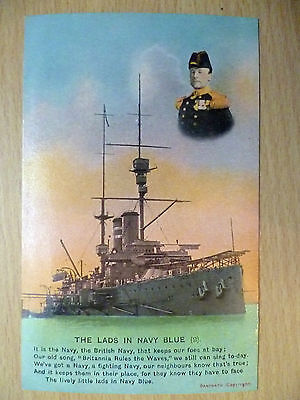 WW1 Military/ Navy Bamforth Song Postcard:The Lads In Navy Blue (2)