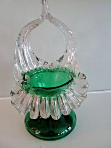 Rare KRALIK Antique GLASS Bohemian FLORIFORM JIP Basket Vase Green