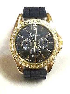 Geneva Navy Blue Chrono Style Rhinestone Silicone Band Wrist Watch Ladies Gold (Geneva Chronograph Style Silicone)