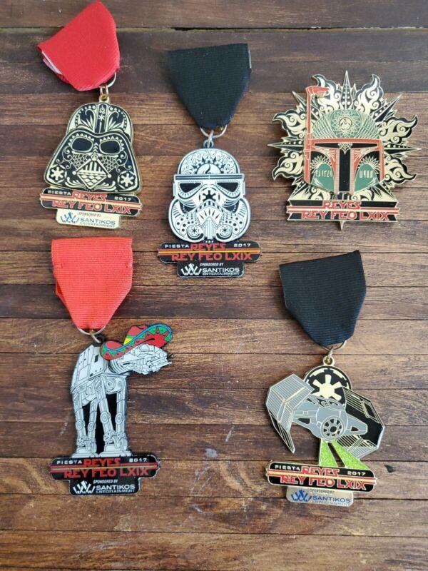 5 Star Wars Santikos Fiesta Medals Darth Vader Boba Fett Stormtrooper
