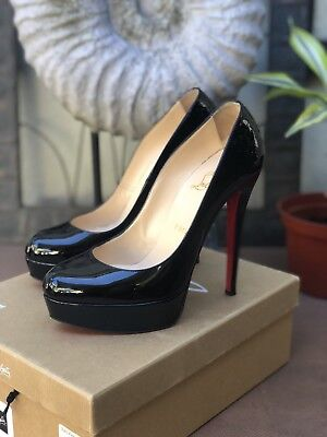 Authentic CHRISTIAN Louboutin Bianca 140 Black Patent leather Size 38 /8