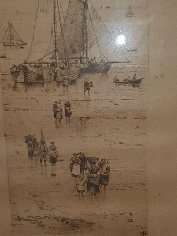 Antique Monogrammed Charles Frederick Allbon Etching In Hogarth Frame