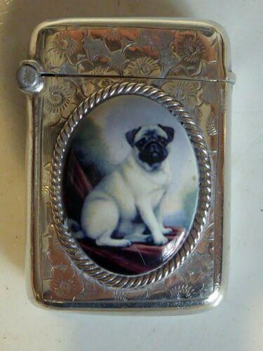 SILVER HALLMARKED 1897 PUG DOG VESTA MATCH STRIKE CASE