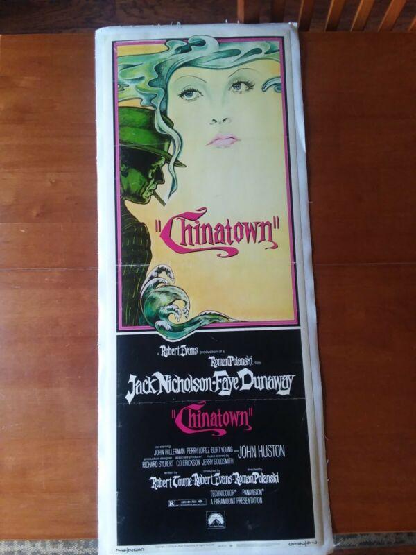 Chinatown- Nicholson-Dunaway - Polanski Insert - on Linen. 1974- NOIR