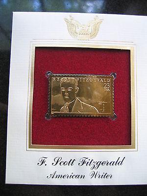 F Scott Fitzgerald American Writer Replica 22kt Gold Golden Cover Stamp FDC 1996