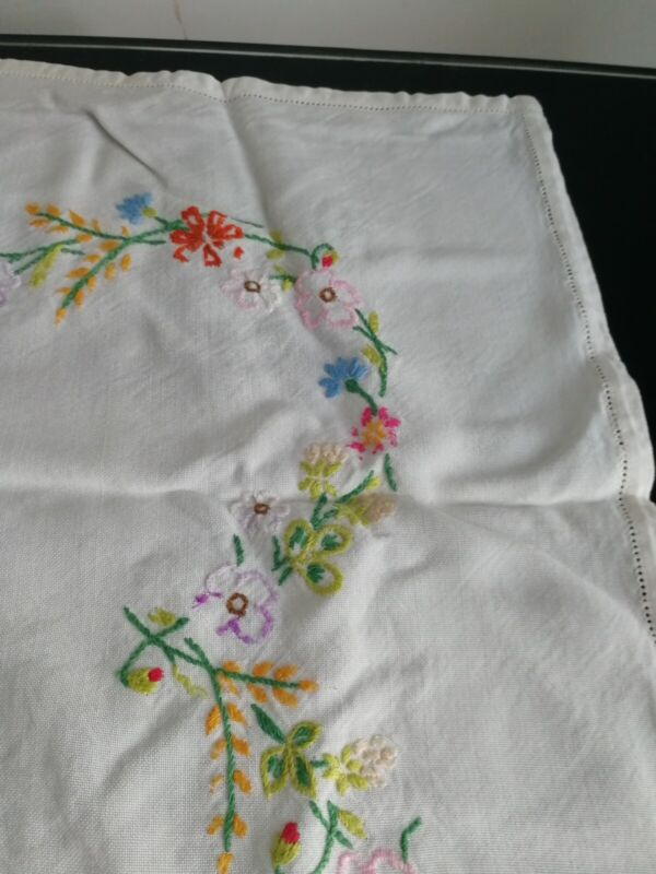 Lovely Vintage floral embroidered Table Cloth