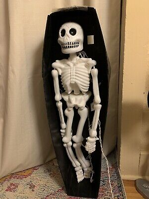 Vintage Blow Mold Light Full Body Skeleton Halloween With Coffin