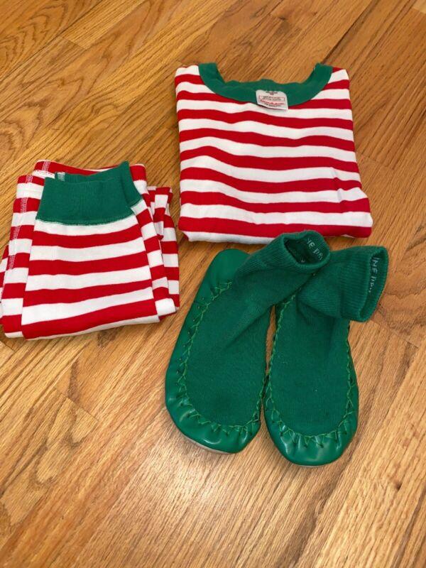 HANNA ANDERSSON Christmas Pajamas 2pc Set US Sz 8 Euro 130 & Slippers Sz 3Y-5Y