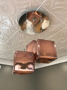 Copper and chrome cube chandelier