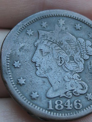 1846 Braided Hair Large Cent Penny- Medium Date- Fine/VF Details