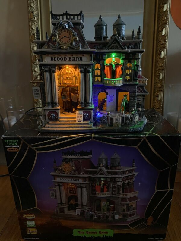 """Lemax Spooky Town The Blood Bank Box Halloween Village Animated in Box """"AS IS"""""""
