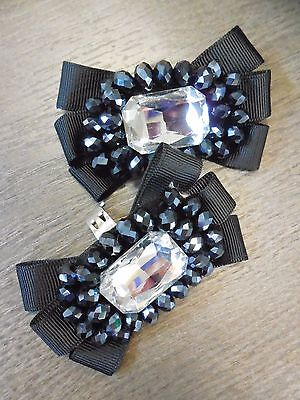 Bridal Wedding Footzy Jewelz Beads & Crystal Black Ribbon Bow Shoe Clips NEW