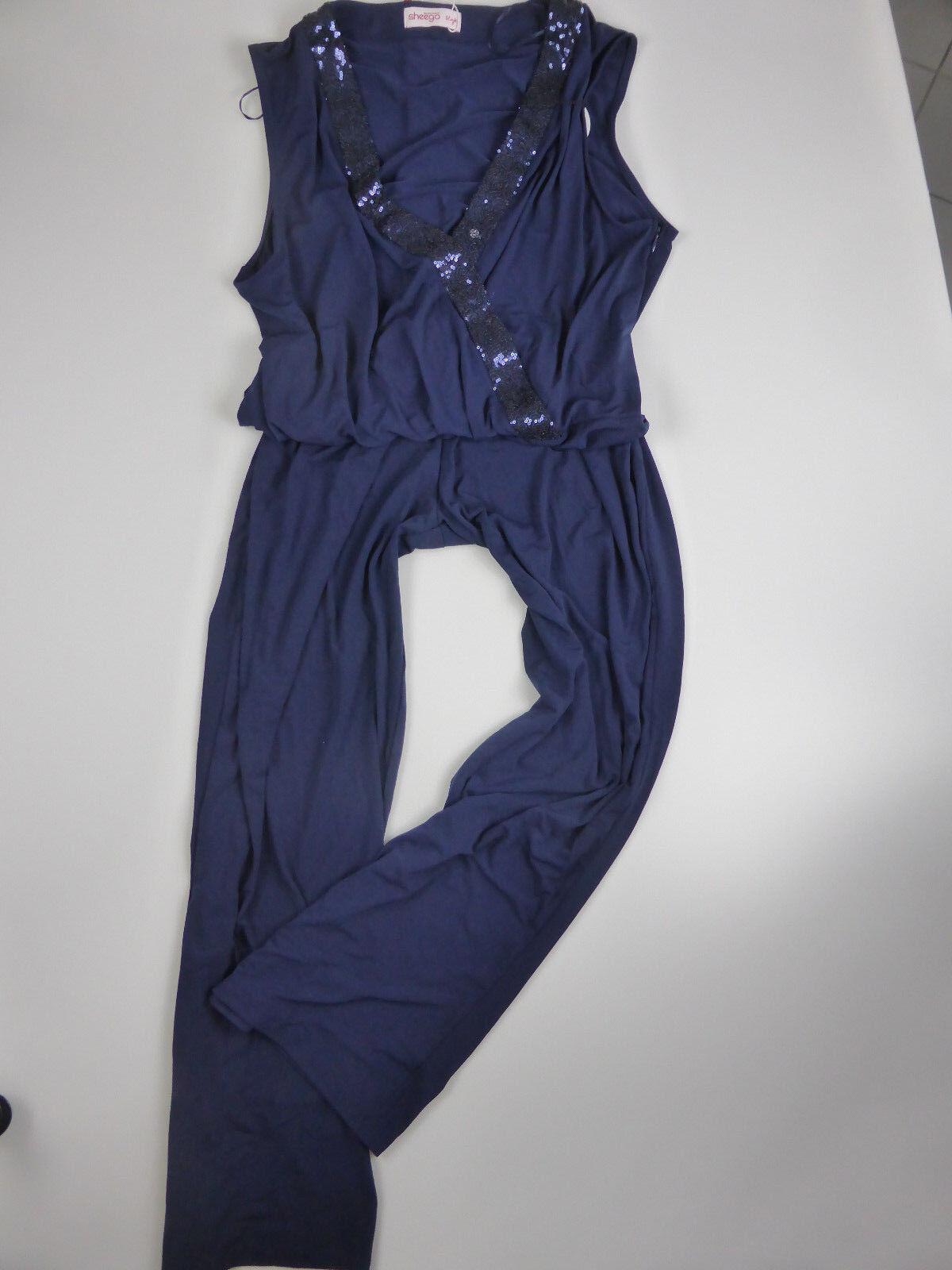 Sheego Jumpsuit Anzug Gr. 40 - 58 mit Pailletten (922) (426) Kurz u. Long Größen