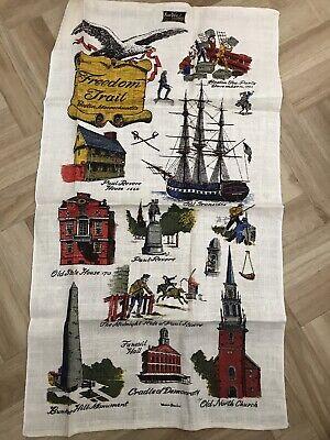 Vintage 100% Linen Kay Dee Hand Prints Tea Towel Boston Tea Paul Revere Freedom
