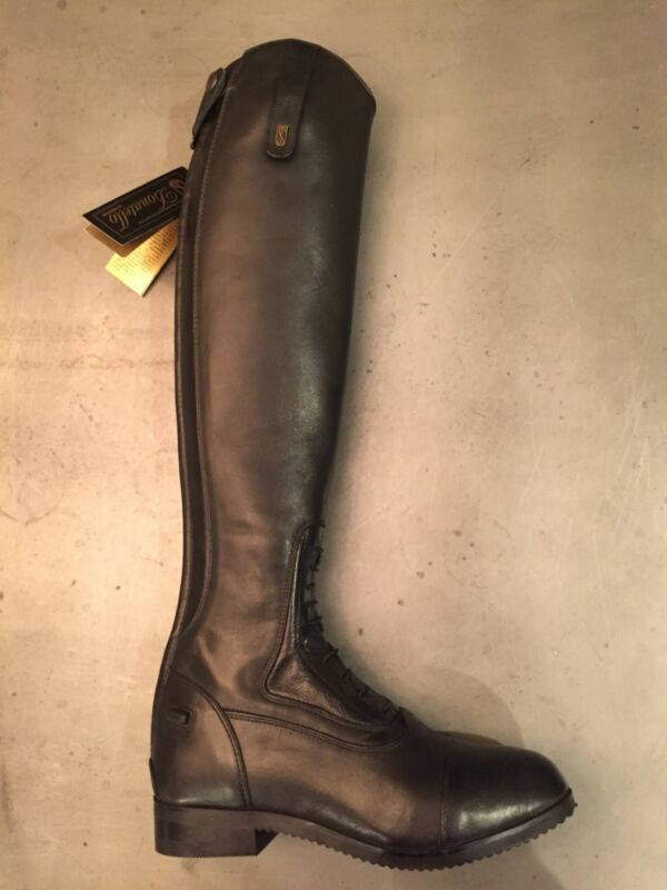 "NEW Blk Tredstep Donatello Field Boots size 7.5, Slim calf 13"", Reg. ht 17.75""."