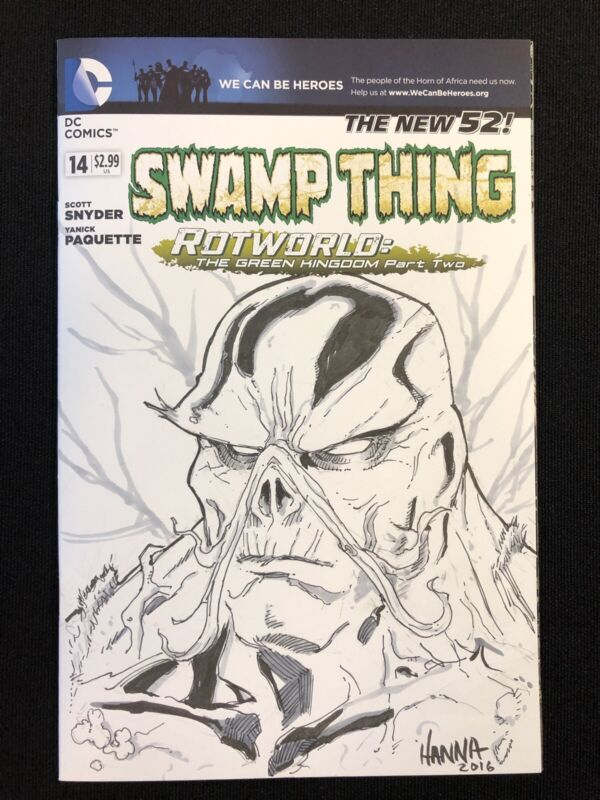 SWAMP THING #14 VARIANT COVER SKETCH ORIGINAL  JIM HANNA ART SNYDER PAQUETTE NM