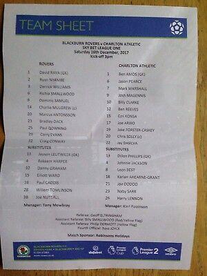 Blackburn Rovers v Charlton Athletic 2017/18 teamsheet