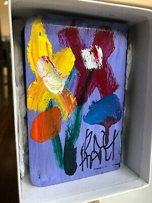 Flowers Pro Hart Original Painting on New Testament Bible (1928-2006).