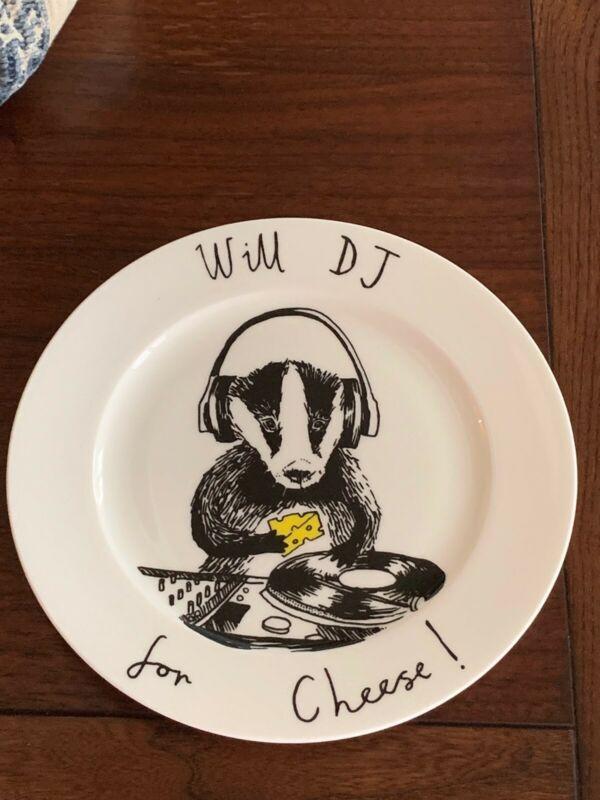 "JIMBOBART PLATE BADGER WILL DJ FOR CHEESE Appetizer Salad Dessert 8""d RARE NEW"