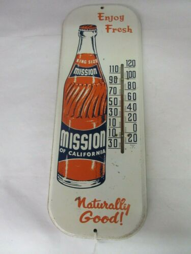 VINTAGE ADVERTISING MISSION ORANGE  SODA POP  STORE THERMOMETER   M-369