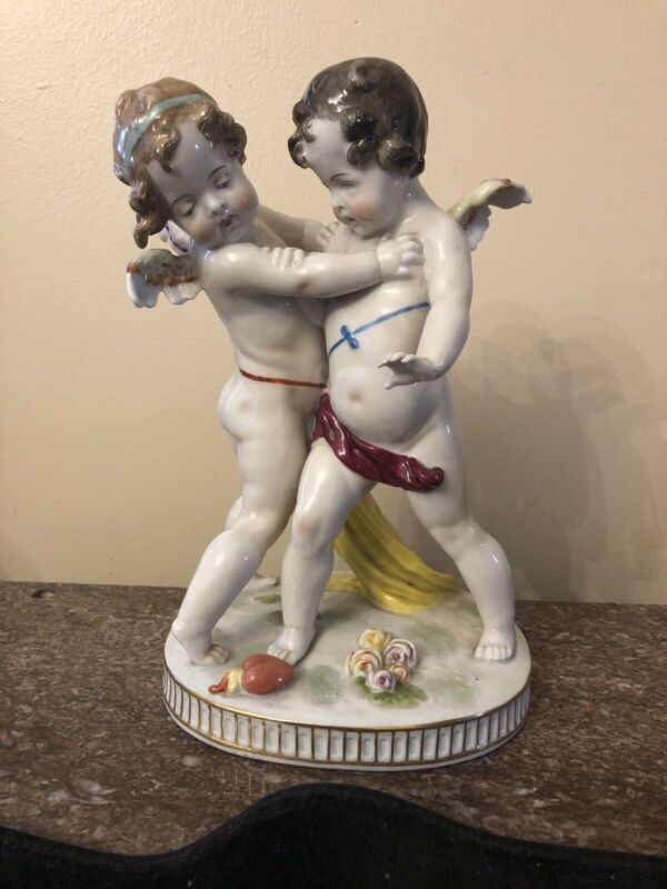 """18th Century Ludwigsburg """"Sparring Angels"""" Hand Painted Fayence Sculpture C.1780"""