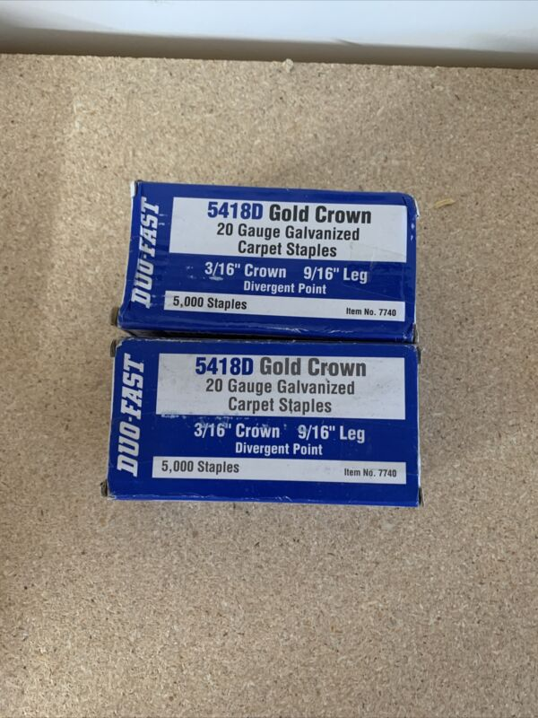 2 Pack Duo-Fast 5418D 9/16in by 20 Gauge 3/16 Crown Gold Staple (5,000 per Box)