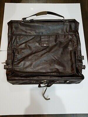 Vintage Samsonite Sentry Garment Bag Leather Style Dark Brown Vintage Luggage