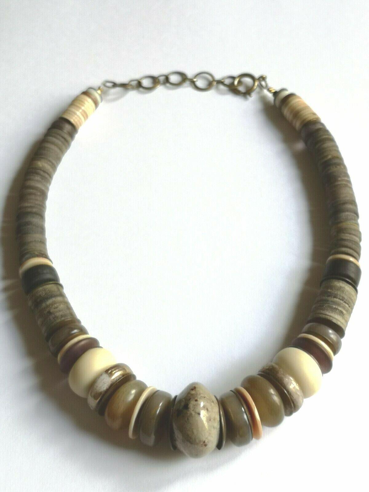 Langani Vintage Collier um 1980, schwarze Perle, Handarbeit Naturfarben