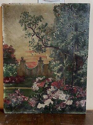 Dipinto Antico Su Cartoncino Paesaggio