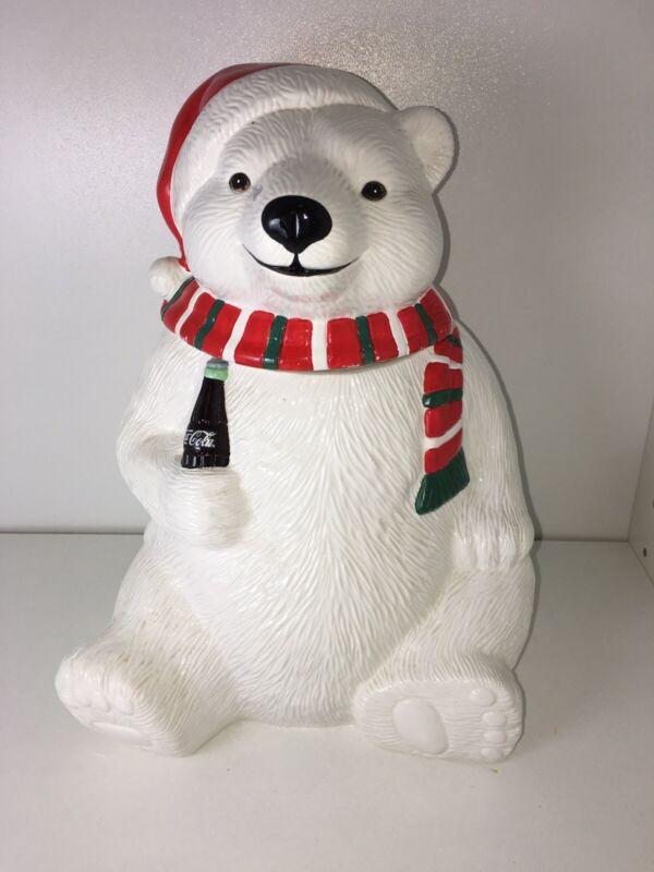 Vintage 1996 Coca Cola Polar Bear Cookie Jar.