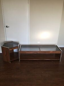 SOLID WOOD and Glass Coffee Table With Side Table