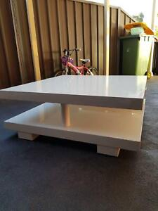 Large White Wooden Square Coffee Table