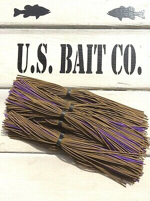 Bass Jig Skirts Living Rubber Lot Of 10 Color Pumpkin Purple - Purple Pumpkin