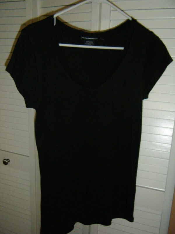 RALPH LAUREN LARGE BLACK CAP SLEEVE TEE WITH BLACK PONY