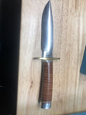 """Blackjack Knife No 5 Stacked Leather Made In USA 5 1/2 """" Blade"""
