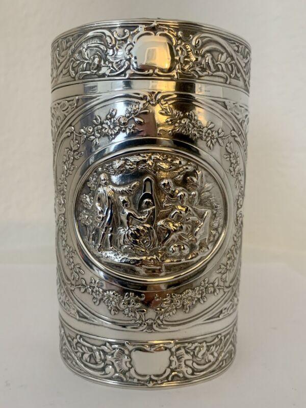 Large GERMAN 800 Silver TEA CADDY Ornate Pastoral Scenes Beautiful Antique