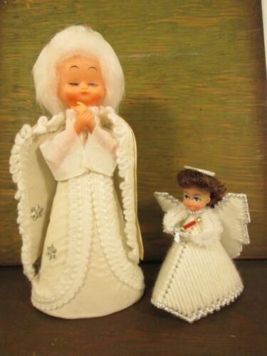 2 HandCrafted Vintage ANGEL DOLL TREE TOPPERS Felt Needlepoint WHITE adult child