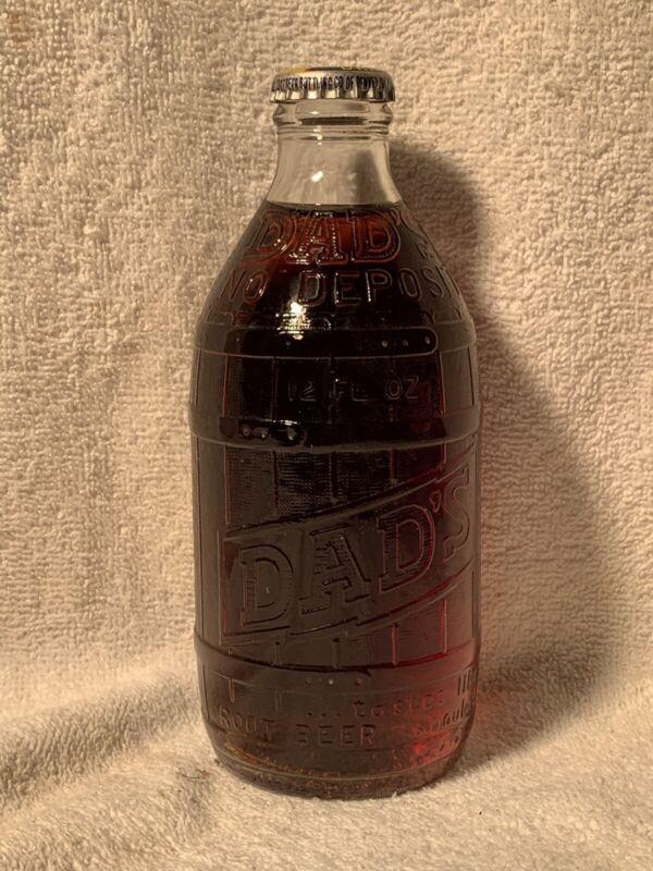 FULL 12oz DAD'S ROOT BEER NO DEPOSIT EMBOSSED SODA BOTTLE