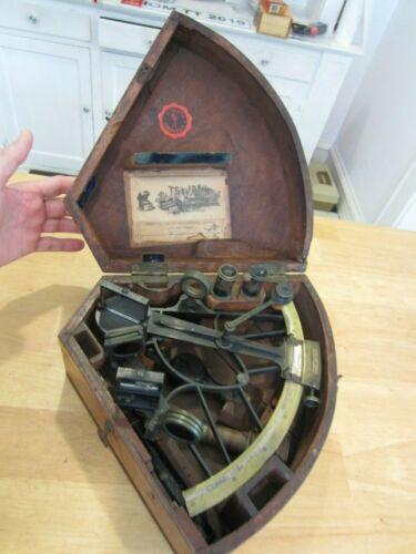 Antique C Plath Sextant , Complete Brass and Mahogany Case T.S. & J.D. Negus