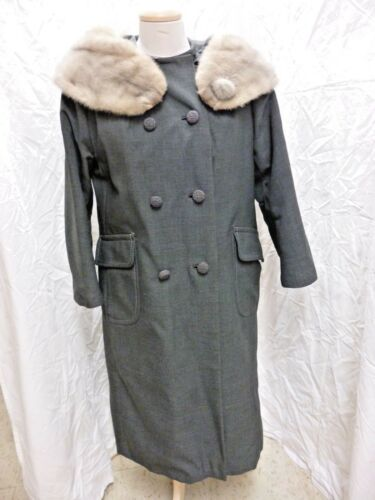 VINTAGE GRAY COAT SILVER FOX ? COLLAR STOLE & BUTTON DOUBLE BREASTED LINED SMALL
