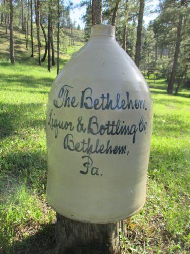 STONEWARE WHISKEY JUG BETHLEHEM LIQUOR & BOTTLING CO BETHLEHEM PA. 5 GALLON WOW!