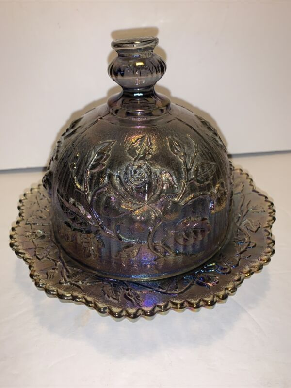 Imperial Carnival Glass Amethyst Open Rose Pattern Round Domed Butter Dish