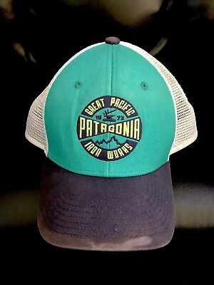 quality design b918f f1711 Patagonia Great Pacific Iron Works Trucker Hat Green Navy Chouinard Logo -  Small