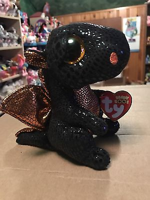 Ty Merlin  Black Orange Halloween Dragon 6  Beanie Boo   Retired Exclusive  Vhtf